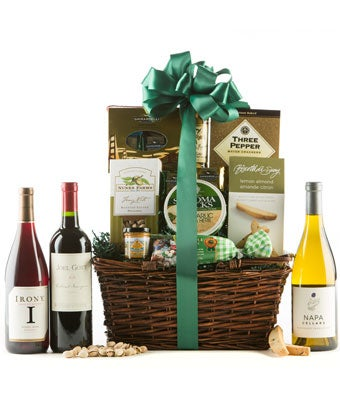 California wine gift basket with chardonnay and zinfandel