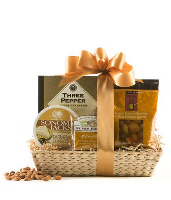 Cheese, almonds and crackers gift basket