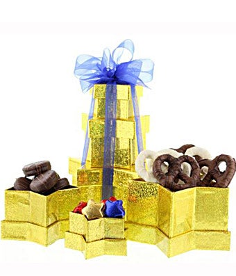 Chocolate basket with pretzels, cookies and gold stars