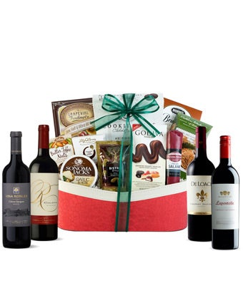 Four Cabernet wine bottles with treats