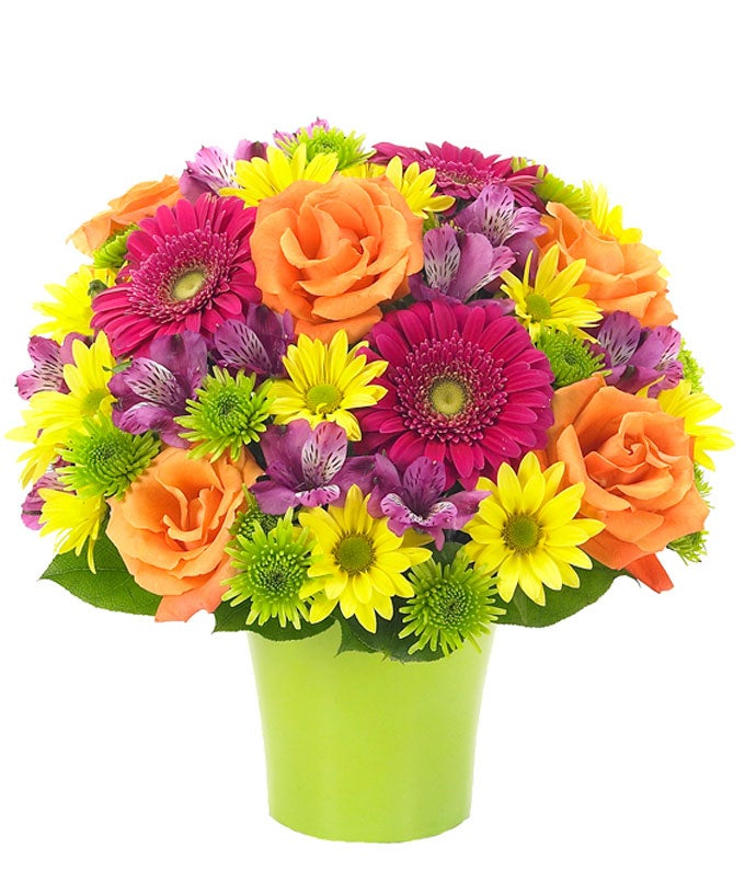Bright mixed flower bouquet with daisies and roses