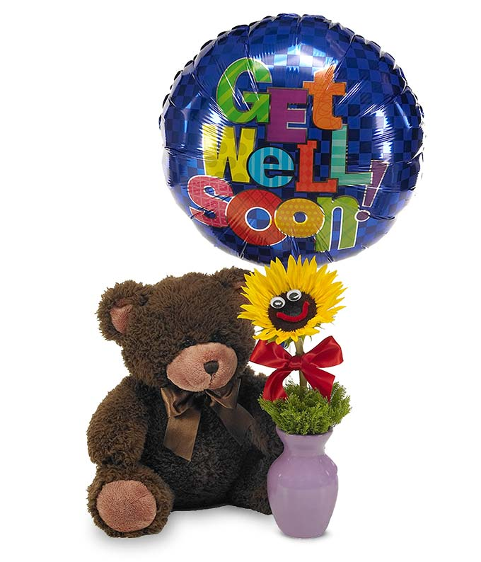 Children get well soon gift delivered with smiling sunflowers in vase hand delivered with get well balloon