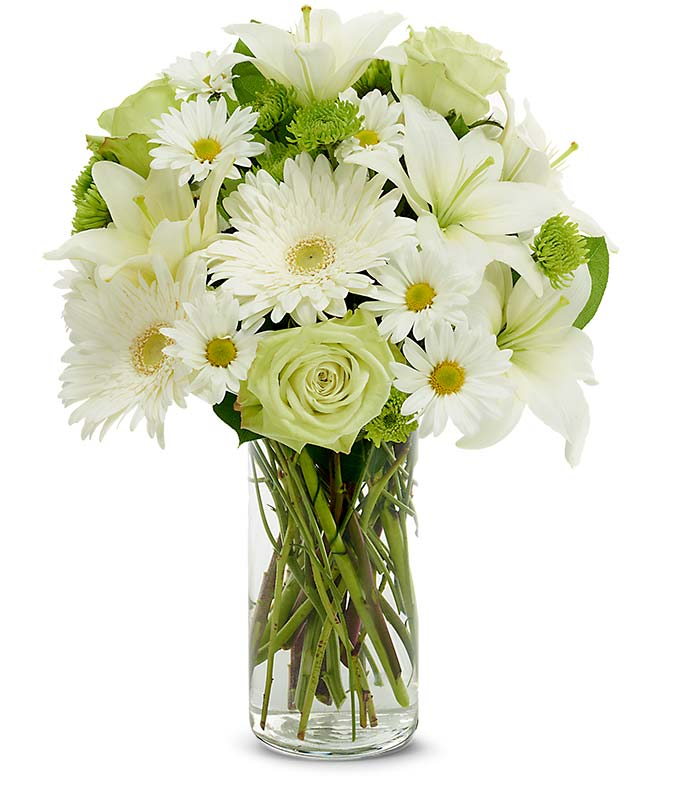 White lilies, green roses and white gerber a daisies