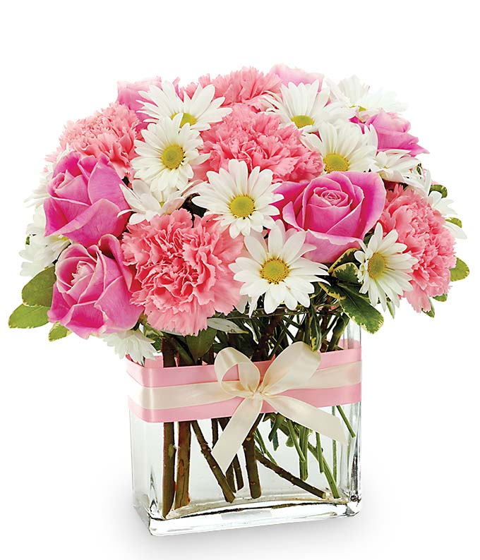 Pink and White online flowers delivered in a modern vase.