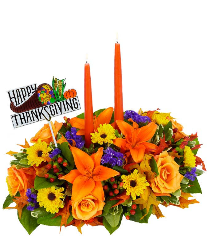 Thanksgiving flower centerpiece with candles