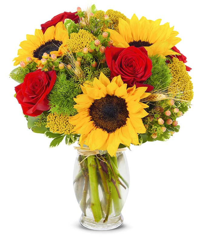 Fall flower arrangement with sunflowers, red roses and hypericum