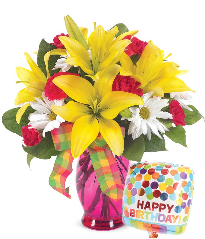 Birthday gift for wife with yellow lilies, red carnations and white daisies arranged with a birthday balloon