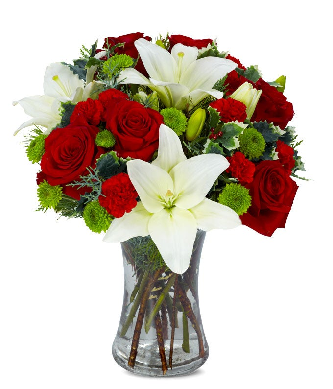 Same day flower delivery with red roses, white lilies and green poms.