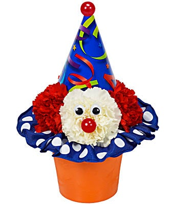 Birthday clown arranged with flowers