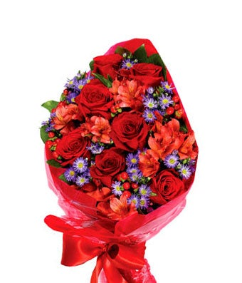 Red roses and purple monte casino hand wrapped