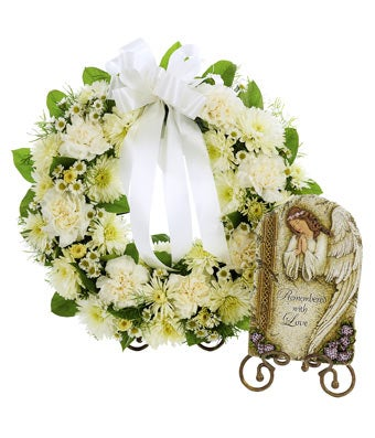 Open Wreath Standing Spray with Stepping Stone