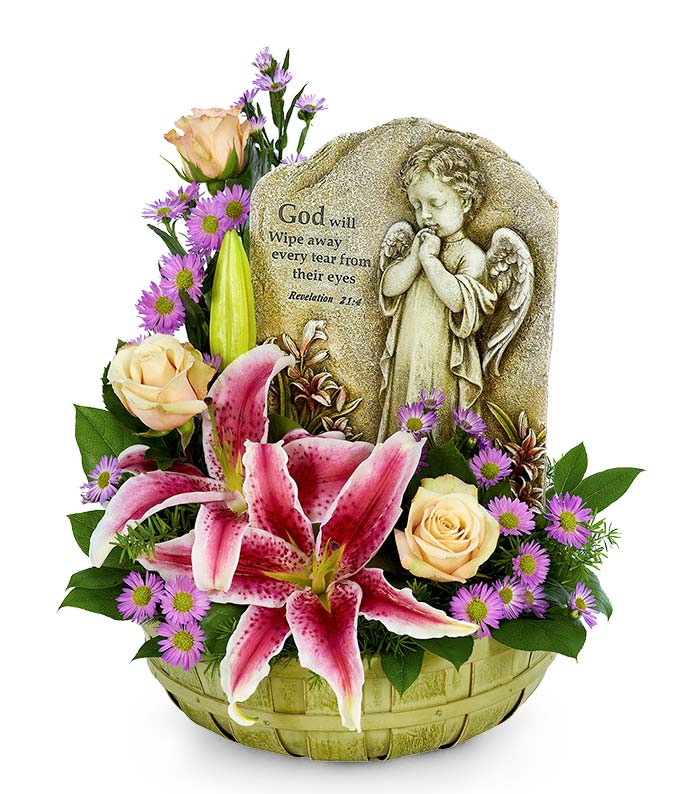 Praying Angel Tribute Basket