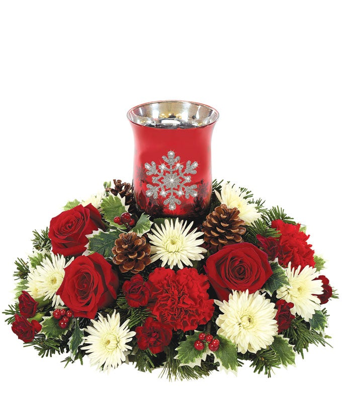 Christmas Flower Candle Centerpiece