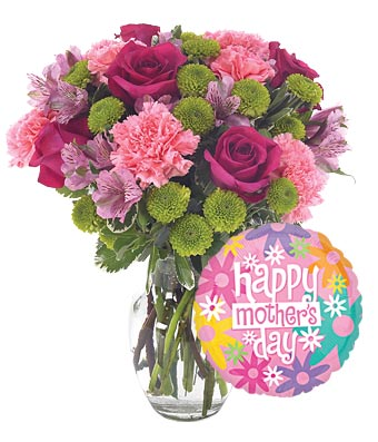 Red roses, pink carnations and purple alstroemeria with Mother's day balloon