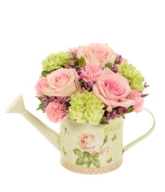 Flowers - Feels Like Home Bouquet - Regular From the charming garden rose watering can to the serene colors of the flowers themselves, this bouquet underscores the comforts of home. Roses, carnations, mini carnations and limonium are arranged beautifully for all to enjoy. Measures 10 H X 8 L. Includes:  Light Pink Roses  Green Carnations  Light Pink Carnations  Purple Limonium  Rose Garden Themed Watering Can