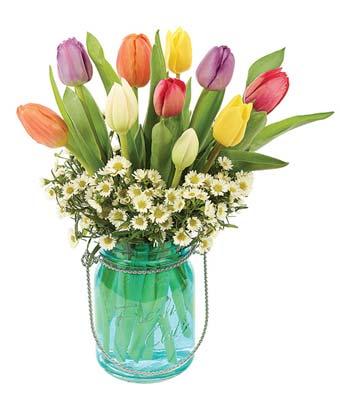 tulips delivered in a mason jar vase