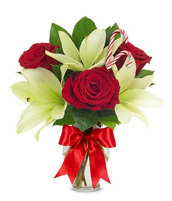 Candy Cane Rose and Lily Bouquet