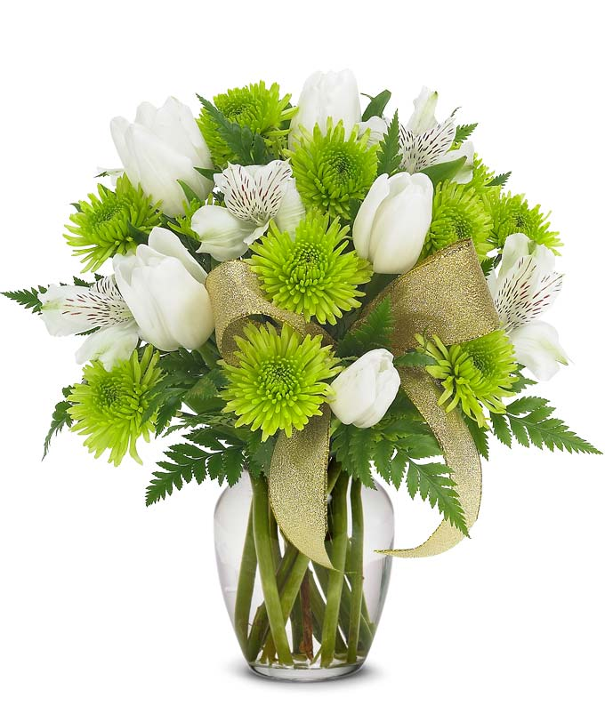 St. Patrick's Day flowers with green mums and tulips in a green vase