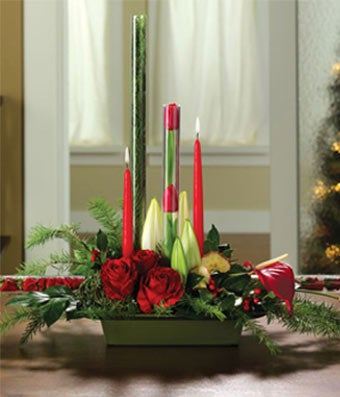 Christmas Candle & Rose Centerpiece