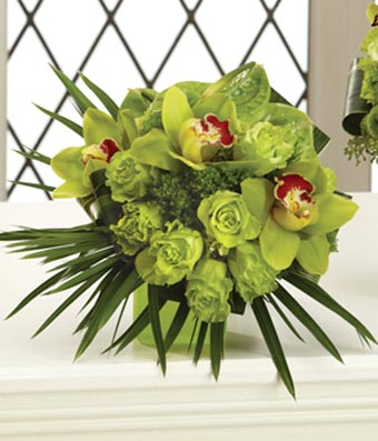 Bridal bouquet with green roses, orchids and hydrangea delivered
