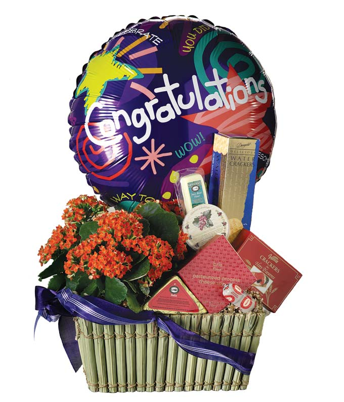 Congratulations arrangement with cheese, balloon and plant