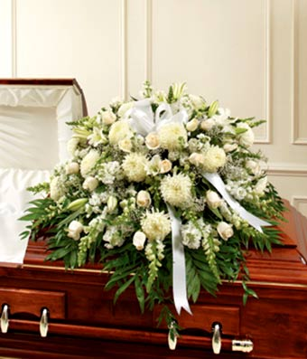 White Mixed Half Casket Cover At From You Flowers