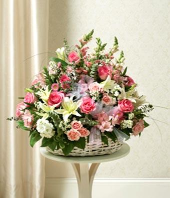Large Sympathy Arrangement In Basket - Pink & White