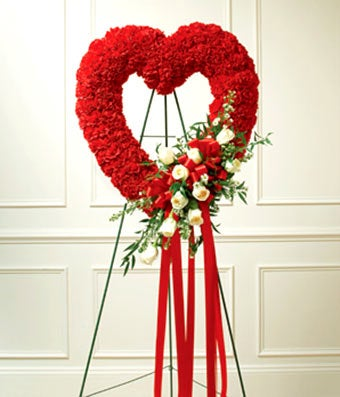Red & White Floral Standing Heart