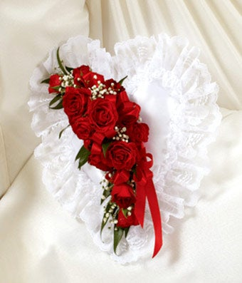 White Amp Red Floral Satin Heart Casket Pillow At From You