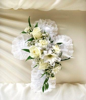 White Satin Cross Casket Pillow