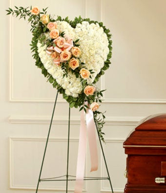 White Standing Heart With Peach Roses
