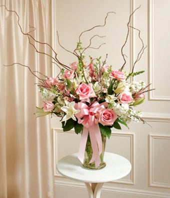 Pink & White Large Sympathy Vase Arrangement
