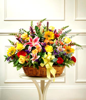 Large Sympathy Arrangement In Basket - Multicolor Bright Mixed Flowers