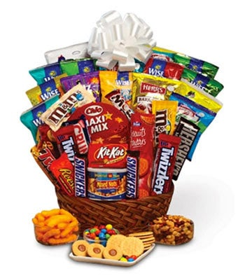 Sweets basket with chocolates, cookies and candy