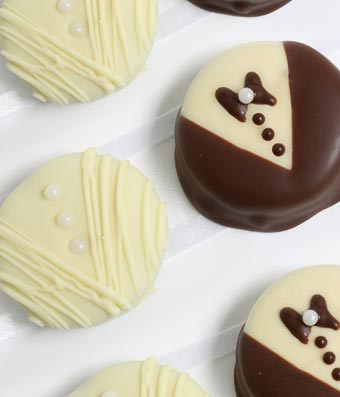 Bride & Groom Chocolate Covered OREO Cookies - 12 Pieces