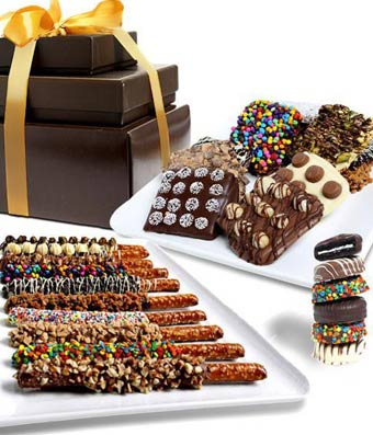 Belgian Chocolate Covered Pretzel, Graham Cracker, and OREO� Snack Tower