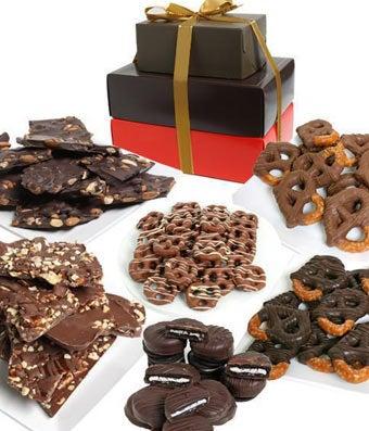 Premium Belgian Chocolate Covered Snack Gift Tower