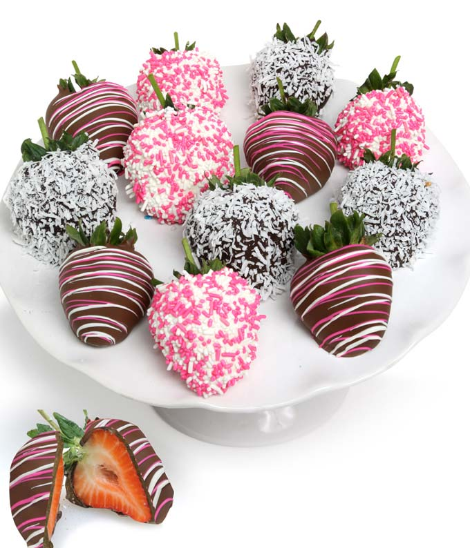Baby Girl Chocolate Covered Strawberries - 12 Pieces