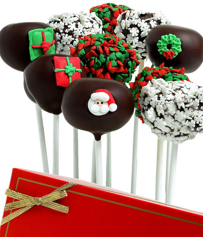 Christmas Belgian Chocolate Covered Cake Pops - 10 Pieces