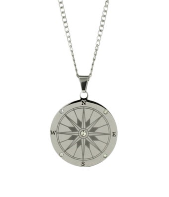 Stainless Steel Compass Pendant