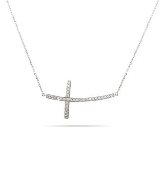 Large Curved CZ Sideways Cross Necklace