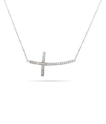 Large Curved CZ Sideways Cross Necklace