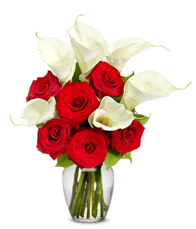 Long stem red roses arranged with calla lilies