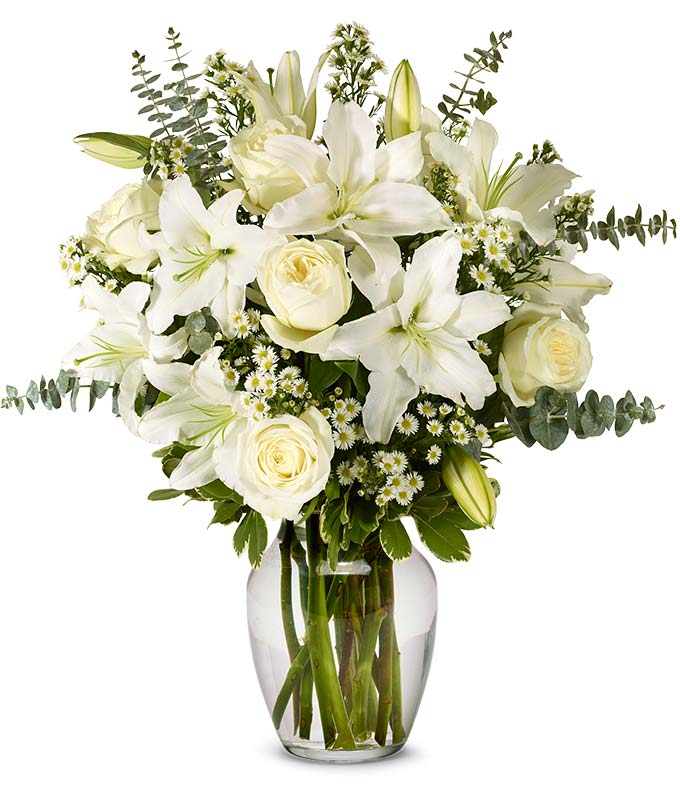 With All Our Sympathy Lily Arrangement