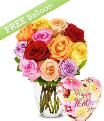 One Dozen Rainbow Roses with MOM Balloon