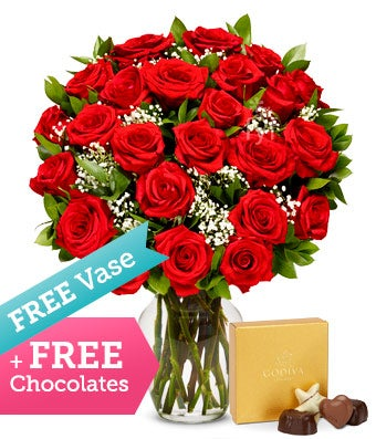 Two Dozen Premium Red Roses with Free Vase & Chocolate