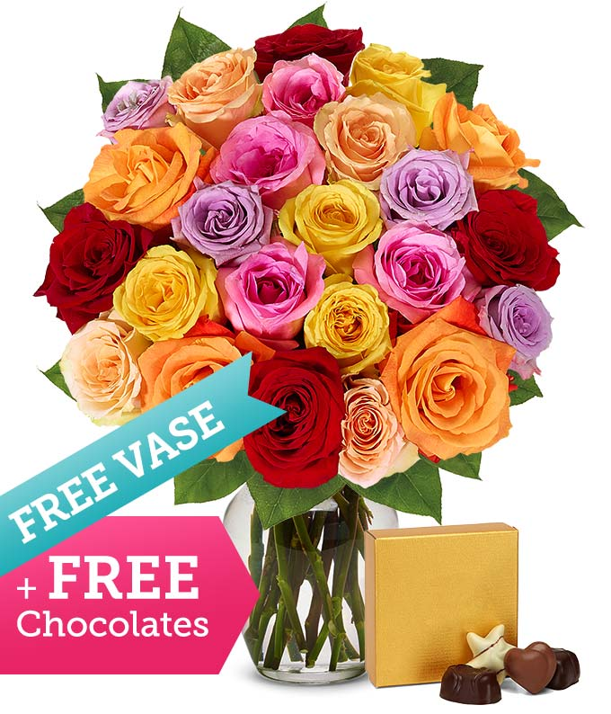 Two Dozen Assorted Roses with Free Vase & Chocolates