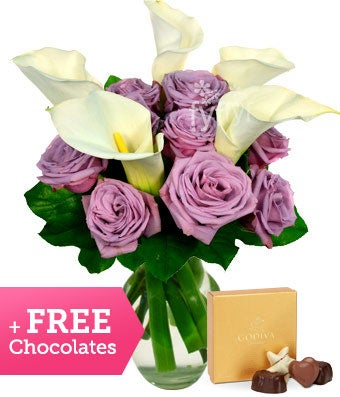 Free Chocolates with Calla Lilies and Purple Roses