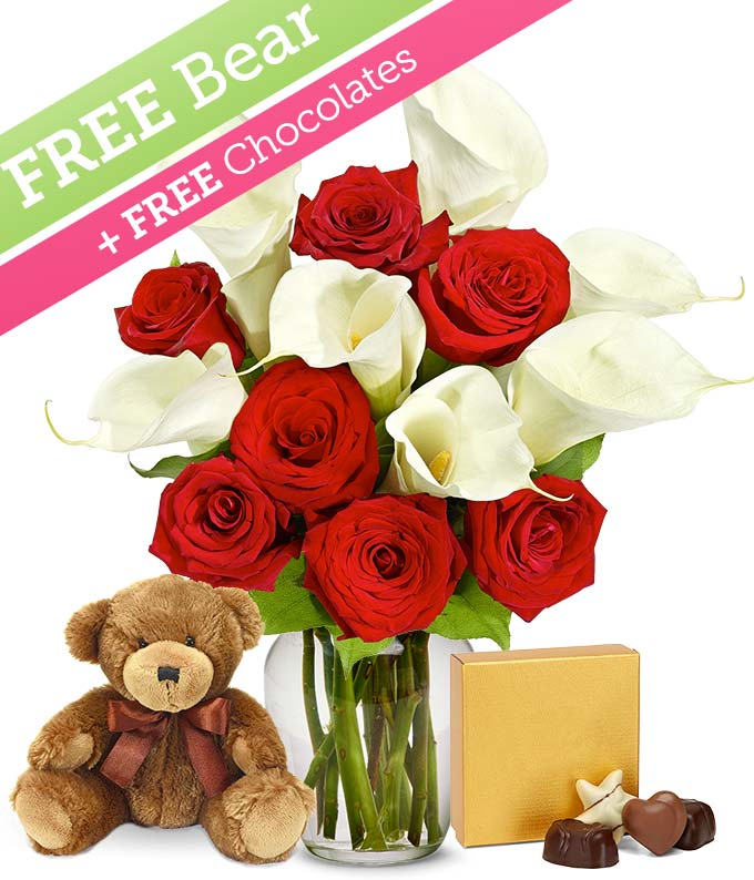 Red Roses & Calla Lillies with a Free Bear & Chocolate