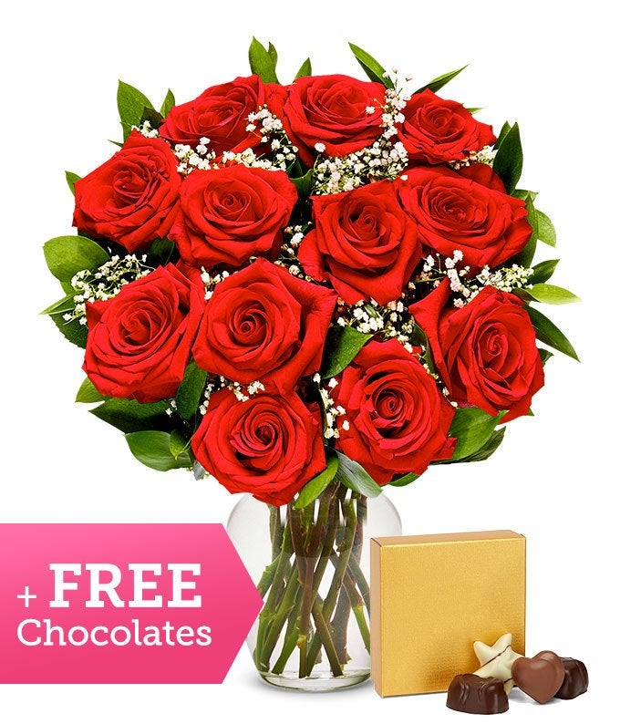 Premium Red Roses with Free Chocolates